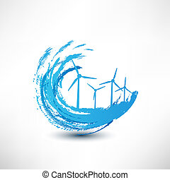 vecteur, enroulez turbines, concept