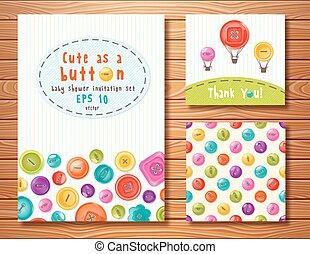 vecteur, ensemble, à, mignon, buttons., parfait, pour, douche bébé, anniversaire, et, autre, events.