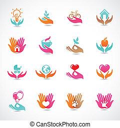vecteur, ensemble, à, signes, de, amour, et, soin