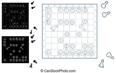 vecteur, ensemble, échecs, 01.eps