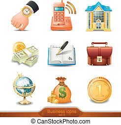 vecteur, ensemble, 4, icones affaires