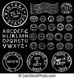 vecteur, ensemble, affranchissement, gabarit, blanc, timbre, vendange