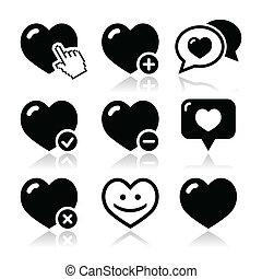 vecteur, ensemble, aimez coeur, icônes