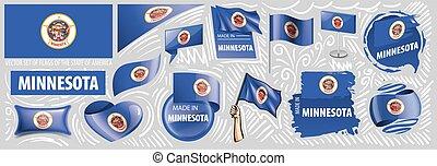 vecteur, ensemble, américain, conceptions, état, minnesota, différent, drapeaux