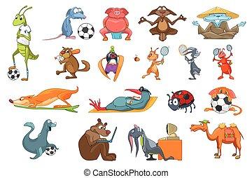 vecteur, ensemble, animaux, illustrations., sport