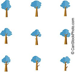vecteur, ensemble, arbre, illustration