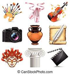 vecteur, ensemble, art, icônes