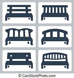 vecteur, ensemble, bancs, icônes