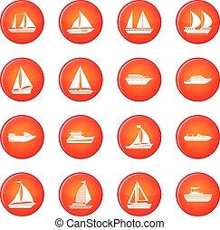 vecteur, ensemble, bateau, icônes