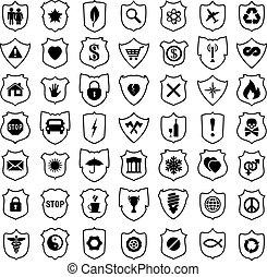 vecteur, ensemble, bouclier, signes
