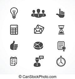 vecteur, ensemble, bureau affaires, icônes