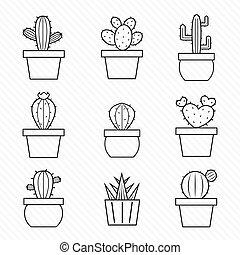 vecteur, ensemble, cactus, icônes