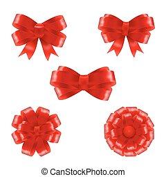 vecteur, ensemble, cadeau, illustration, arcs, ribbons., rouges