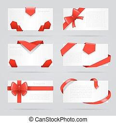 vecteur, ensemble, cadeau, résumé, illustration, arcs, cartes, rubans, rouges