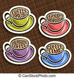 vecteur, ensemble café, tasses, coloré