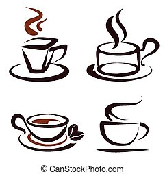 vecteur, ensemble café, tasses, icônes