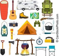 vecteur, ensemble, camping, elements.