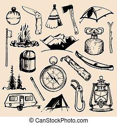 vecteur, ensemble, camping, elements., vendange, aventures, main, extérieur, sketched, illustrations, dessiné, emblèmes, etc., insignes