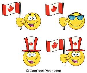 vecteur, ensemble, caractère, type caractère jaune, 5., collection, patriotique, dessin animé, emoji