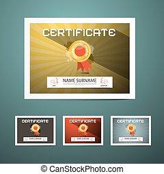 vecteur, ensemble, certificat, illustration