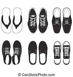 vecteur, ensemble, chaussure