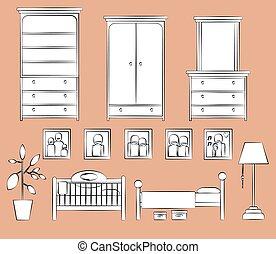 vecteur, ensemble, childrens, bedroom., meubles