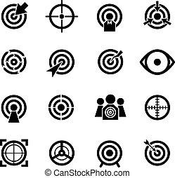 vecteur, ensemble, cible, icônes