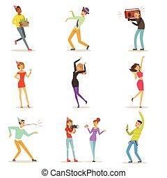 vecteur, ensemble, coloré, danse, gens, célébrer, amusement, anniversaire, caractères, illustrations, fête, avoir, heureux
