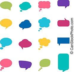 vecteur, ensemble, coloré, illustration, bulles, parole