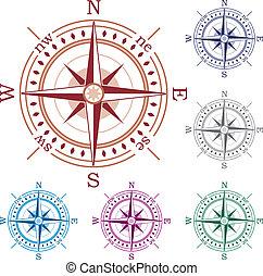 vecteur, ensemble, compas, coloré