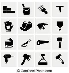 vecteur, ensemble construction, icône