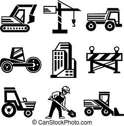 vecteur, ensemble construction, icônes