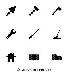 vecteur, ensemble, construction, noir, icône
