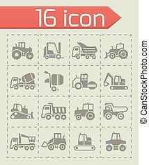 vecteur, ensemble construction, transport, icône