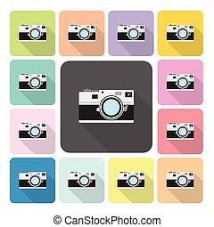 vecteur, ensemble, couleur, illustration, appareil photo, icône