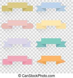 vecteur, ensemble, couleur, illustration, bannières, rubans
