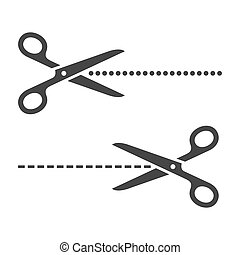 vecteur, ensemble, coupure, lignes, arrière-plan., découpage, ciseaux, blanc
