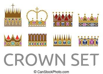 vecteur, ensemble, couronne