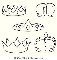 vecteur, ensemble, couronnes