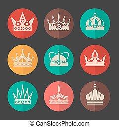 vecteur, ensemble, couronnes royales, icônes