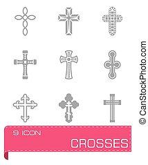 vecteur, ensemble, croix, icône