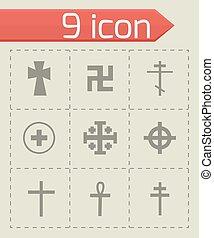 vecteur, ensemble, croix, icônes