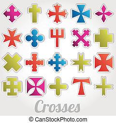 vecteur, ensemble, croix