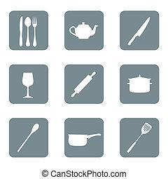 vecteur, ensemble, cuisine, icône