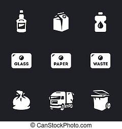 vecteur, ensemble, déchets, icons.