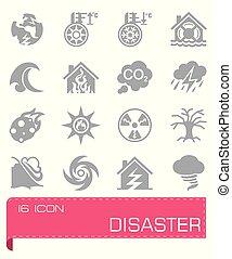 vecteur, ensemble, désastre, icône