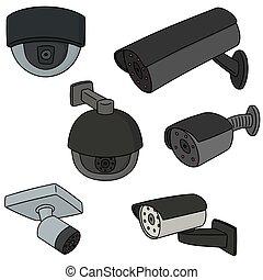 vecteur, ensemble, de, appareil-photo sécurité
