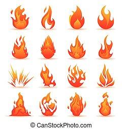 vecteur, ensemble, de, brûler, et, flamme, icons., coloré, flammes, dans, les, plat, style., simple, icônes, feu