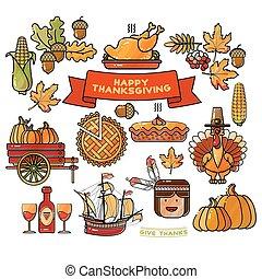 vecteur, ensemble, de, dessin animé, icônes, pour, thanksgiving, day.
