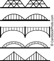 vecteur, ensemble, de, différent, ponts, connexion